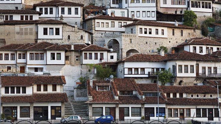 The traditional houses in the city of Berat