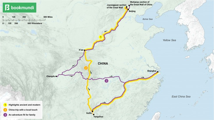 An overview map of the routes of 10 day China itineraries