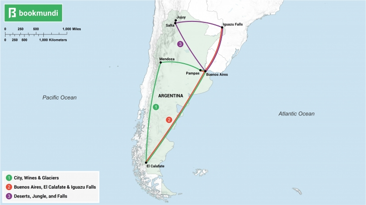 An overview map of 10-day itineraries for Argentina