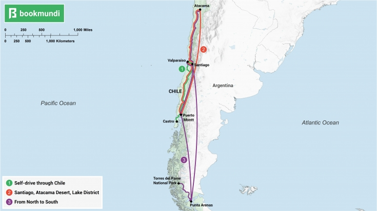 An overview map of different itineraries in Chile