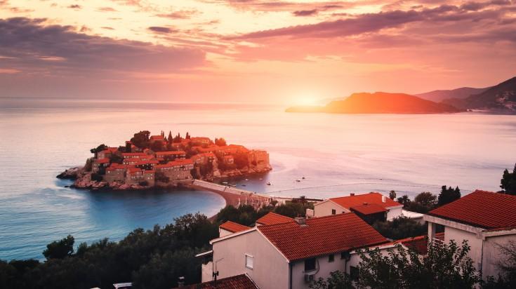 Beautiful sunrise in Sveti Stefan island