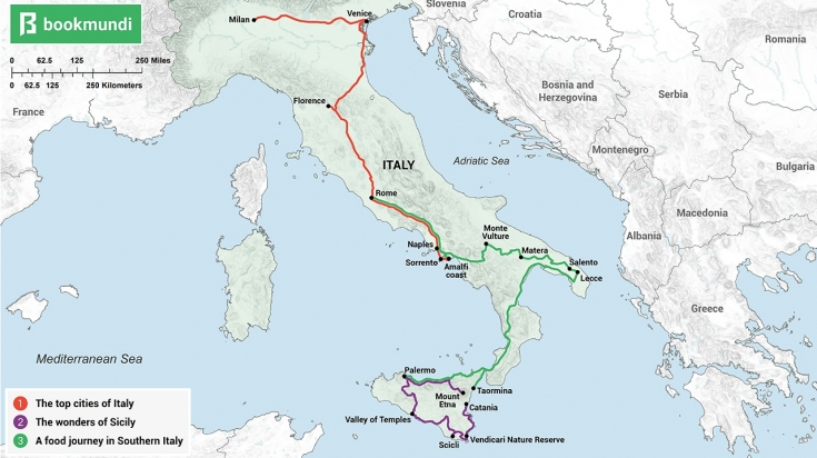 An overview map of 2 weeks in Italy