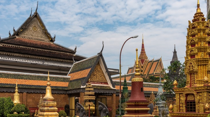 Historical Buddhist temple with aesthetic and beautiful pagodas