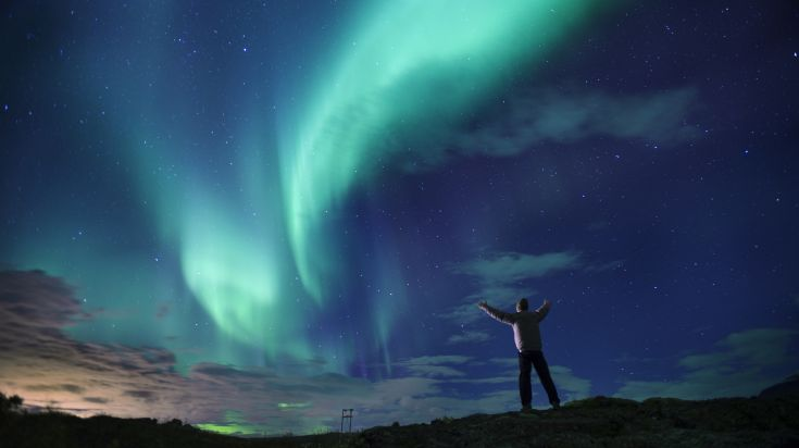 Northern lights in Akureyri, North Iceland