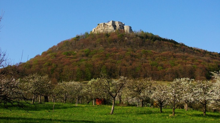 Hohenneuffen Castle is reached on day 8 of the Albsteig hiking trail