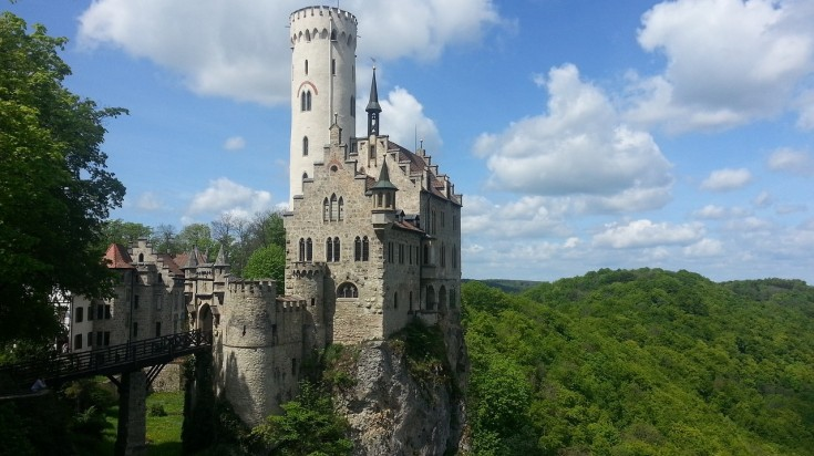 Lichtenstein castle sits atop a rugged cliff on the Albsteig hiking trail