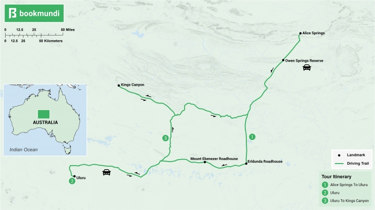 Alice Springs to Uluru itinerary map