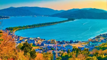 Located in Kyoto Prefecture Amanohashidate is a sandbar covered in pines.