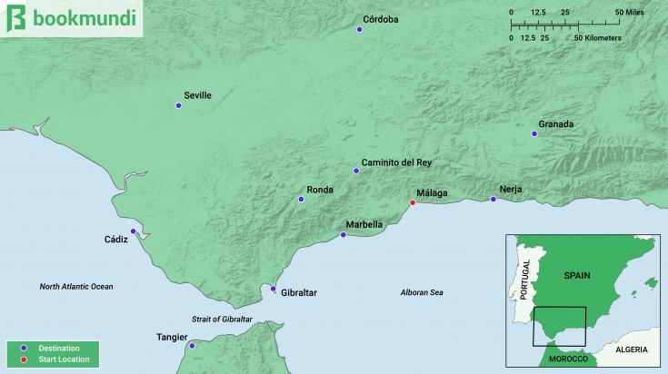 Amazing Day trips from Malaga Map