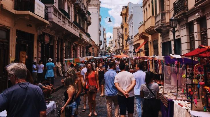 Crowds in a street market