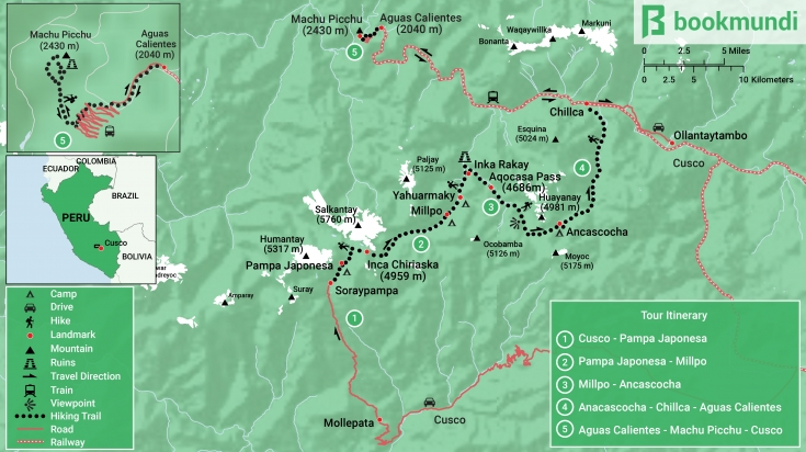 Map of the Ausangate trek