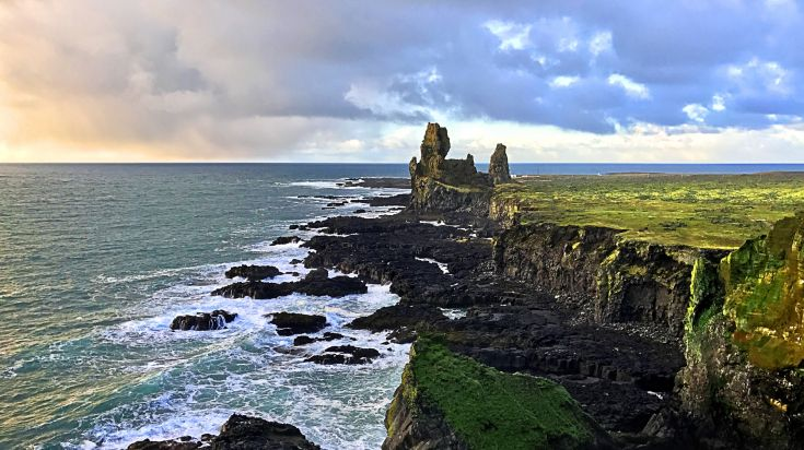 Basalt sea cliffs of Londrangar in Snaefellsjokull National Park