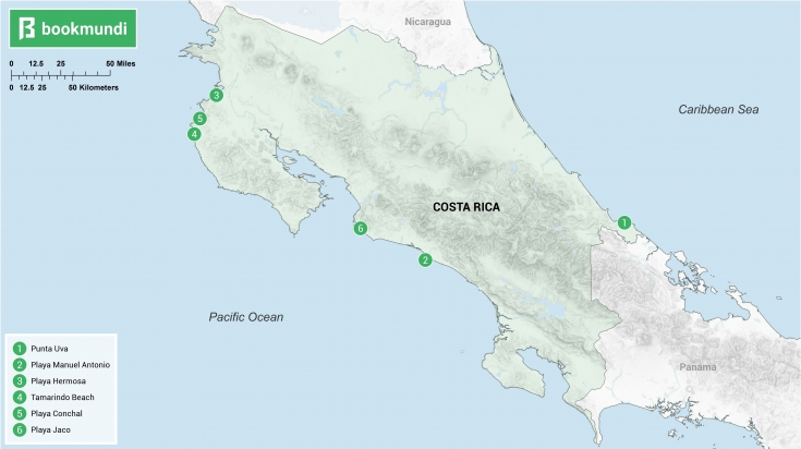 Beaches in Costa Rica map