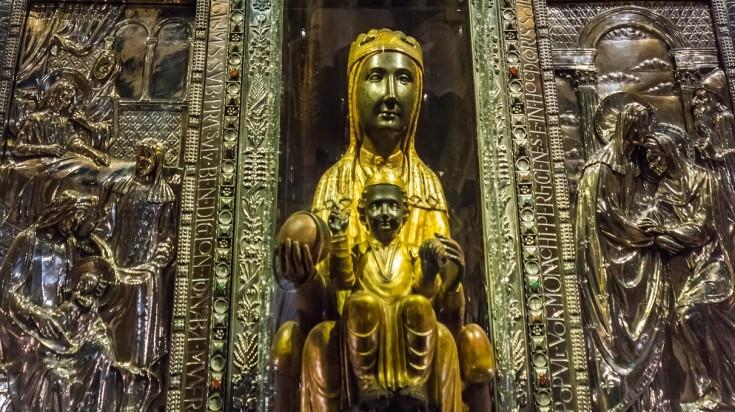 The statue of Black Madonna in Montserrat, Spain