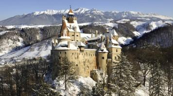 Bran Castle during winter in Translyvania