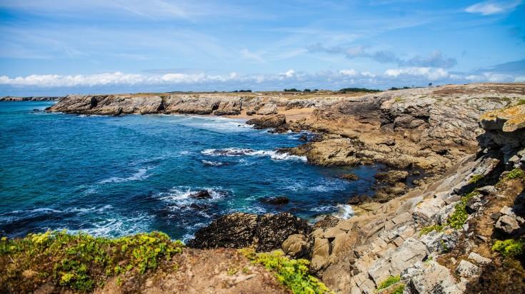 Rocky coastline in Brittany in France