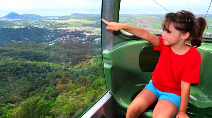 Riding the skyrail is a fun thing to do in Cairns with a family.