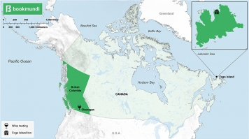 An overview map of destinations to relax in Canada