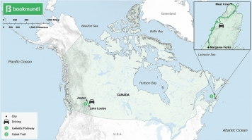 An overview map of road trips in Canada