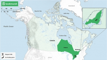 An overview map of tourist destinations in Canada