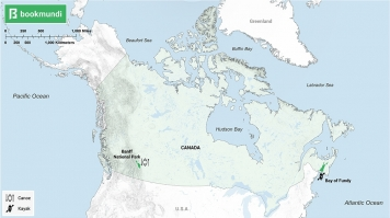 An overview map of water activities in Canada