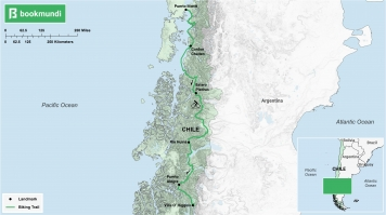 An overview map of the biking trail in Carretera Austral.