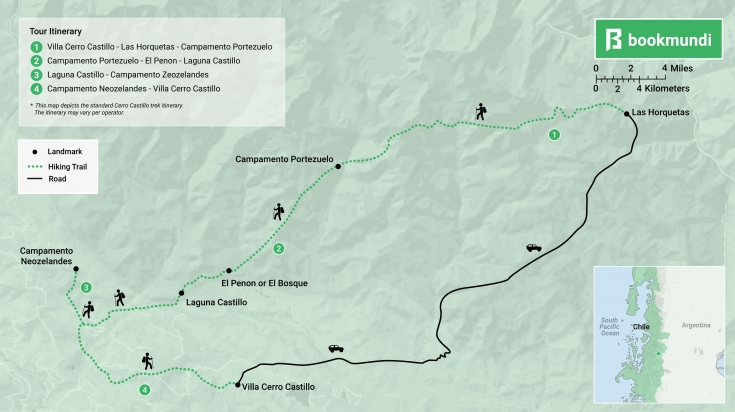 Cerro Castillo Trek map