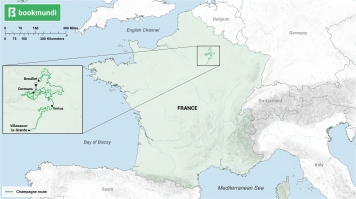 Map for Champagne route in France