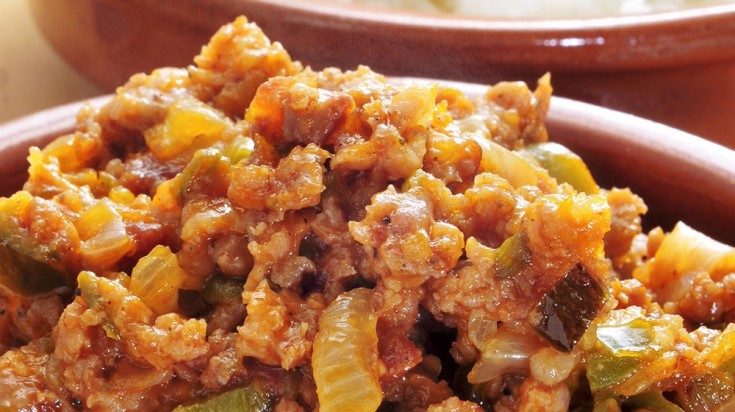 Chifrijo, a Costa Rican food are a combination of pork rinds and beans.