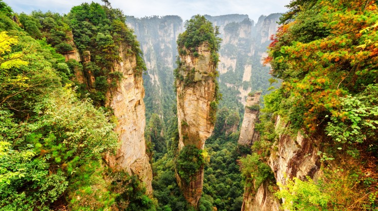 The pillar-like formations in Zhangjiajie National Forest park