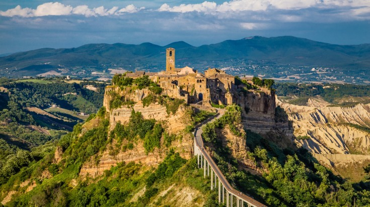 Civita Di Bagnoregio is a small hilltop village in Viterbo.