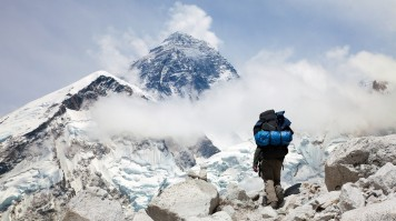 A trekker getting close to Everest Base Camp