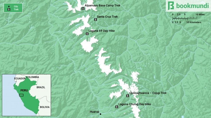 Map of the best cordillera blanca trekking trails