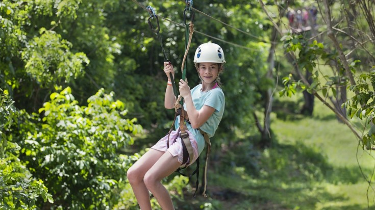 Kids ziplining in Costa Rica