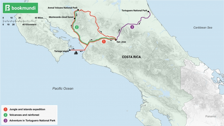 An overview map of 5-day itineraries for Costa Rica