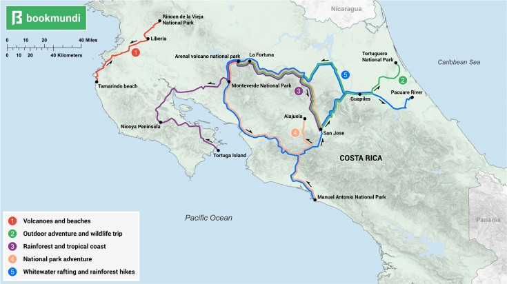 An overview map of the routes of 7 day Costa Rica itineraries