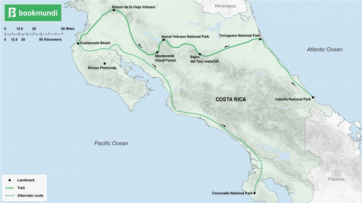 Costa Rica Itinerary Coast to Coast map
