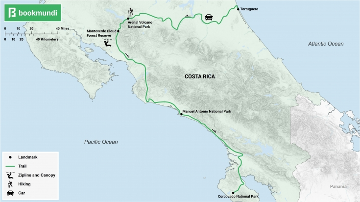 Costa Rica itinerary rainforest map