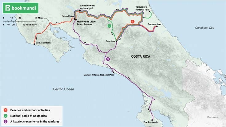 An overview map showing routes for 10 day Costa Rica itineraries