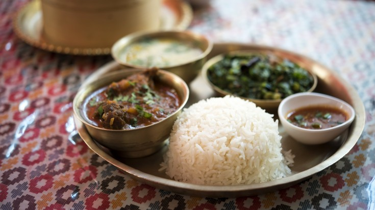Dal bhat is a staple Nepalese food found in most Nepalese restaurants
