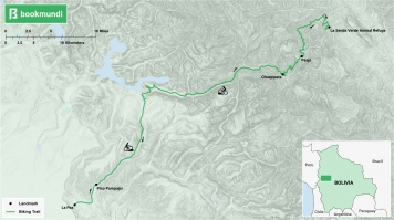 An overview map of the biking trail in the Death Road, Bolivia.