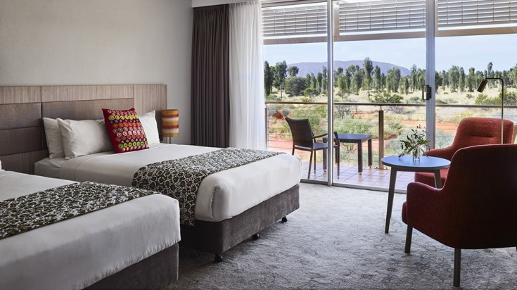 Guests get to wake up to stunning views of the Uluru Rock