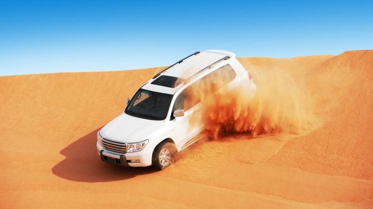 Dune bashing on a desert safari in Dubai