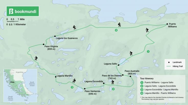 Dientes de Navarino trek map