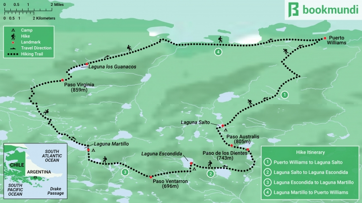 Dientes de Navarino Trek Map