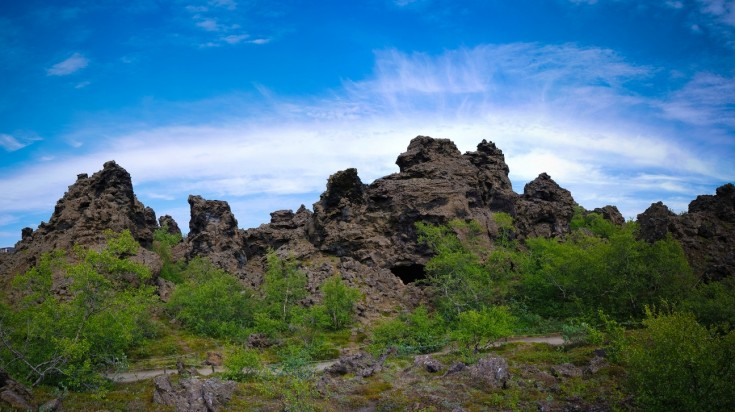 Dimmuborgir is a rock lava formation near Lake Myvatn