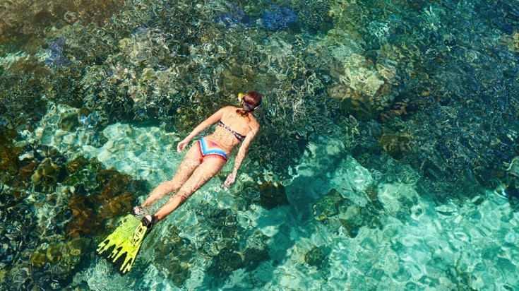 A woman snorkeling in Costa Rica