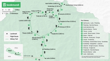 Everest Base Camp 3 Passes trek Map