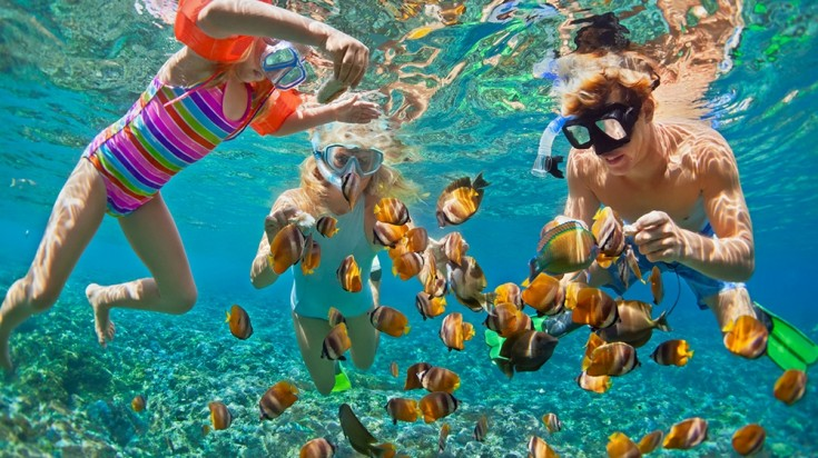 Family snorkeling in Osa Peninsula, Costa Rica
