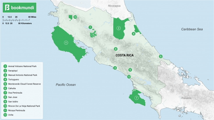 Family vacations in Costa Rica map